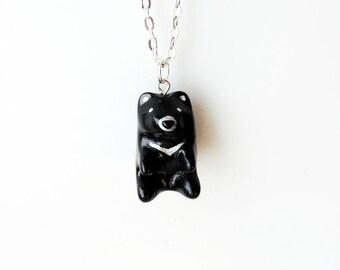 Silver Moon Bear Pendant Necklace