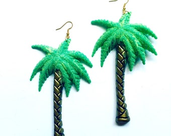Extra Large Palm Tree plastic charm earrings festival jewelry