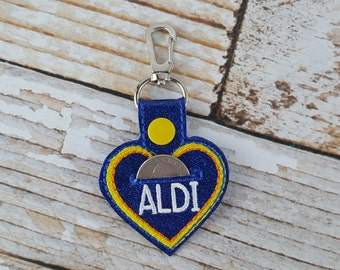 Heart Aldi Quarter Keychain - Quarter Keeper - Cart Quarter Keychain for Aldi and similar stores