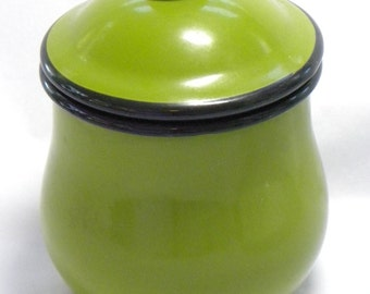 Enamelware Canister in Retro Avocado Green Black 2 Cup Storage Metal Container