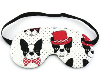 Polka Dot Boston Terrier Dogs Sleep Eye Mask, Sleeping Mask, Travel Mask, Sleep Mask, Travel Gift, Gift for her