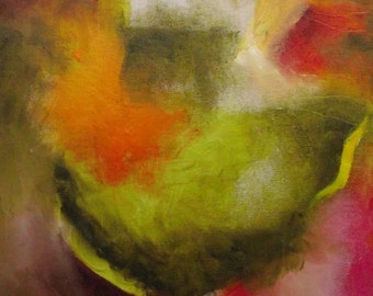 Abstract painting, warm green, orange, deep pink, gold, yellow, original oil, small, 12 x 10 inches