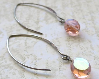 Pink beaded earrings faceted czech glass beads on long sterling silver earwires