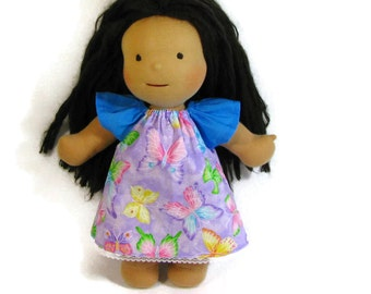 15 inch Waldorf doll dress, sparkly pink and purple butterfly doll dress with blue sleeves, 16 inch doll dress