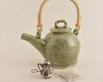 Ceramic Teapot - Brewing Vessel - Handmade Stoneware - Natural Cane Handle - Carved Celadon Green - Tea Lover's Gift - Ready to Ship s491