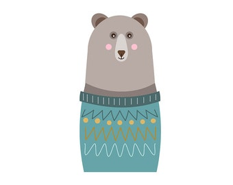 Grey  Bear in jumper  Clipart Single, commercial use,   / winter Clip Art / Digital Clipart , bear clipart, woodland clipart, wooly jumper