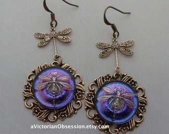 Czech Button  Dragon fly Chandelier earrings antique gold Iridescent purple Violet