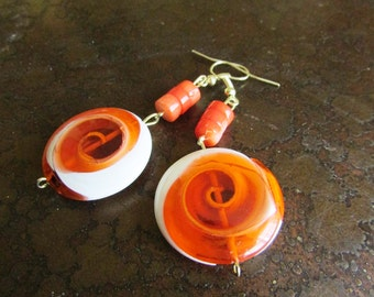 Orange Swirl Glass Beaded Dangle earrings