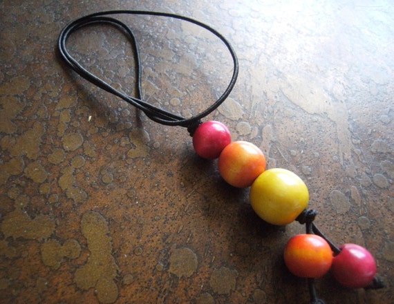 Color Burst Wood Hair Tie