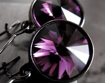 Amethyst Purple Crystal Earrings, Purple Rivoli Crystal Earrings, Eggplant Aubergine w Black Gunmetal, Color of February Birthstone Birthday