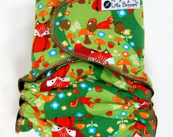 Custom Cloth Diaper or Cover - Fox and Friends Green - You Pick Size and Style - Made to Order Nappy or Wrap - Foxes Mushrooms Woodland