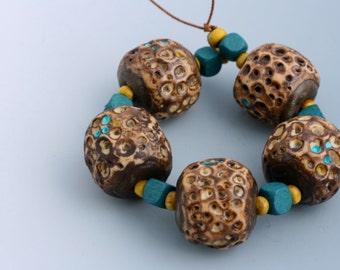Artisan Art Bead Set of 5. Organic, Gaudi-inspired. Chocolate, turquoise, cream.