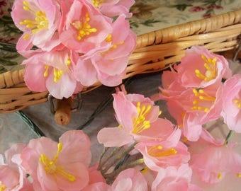 Two Dozen / Vintage Millinery / Fabric Cherry Blossoms / Miniature Bouquets / Bright Yellow Stamen Heads / DIY Idea