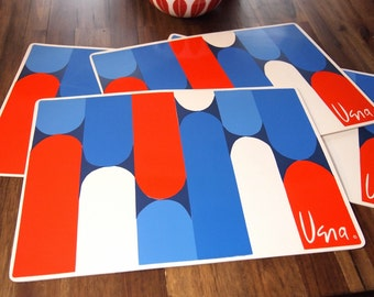 Free Shipping Vintage  Retro Vera Placemats Red White Blue Graphic Design Set of 4 Vera Neumann Vinyl
