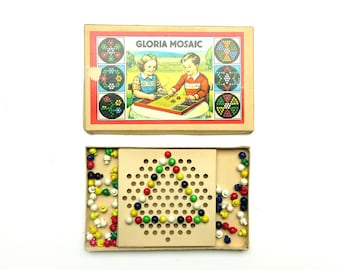 Vintage 1950s GDR Gloria Mosaic Peg Game Toy Made in East Germany - Old German Creative Playtime Marble Beads Board Game