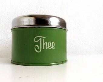 Vintage Green Brabantia Tea Tin - Dutch Storage Container Kitchen Decor - Metal Kitchenware Chrome Lid