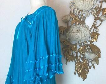 1970s blouse vintage blouse gauze blouse tunic top size medium trapeze top bohemian blouse