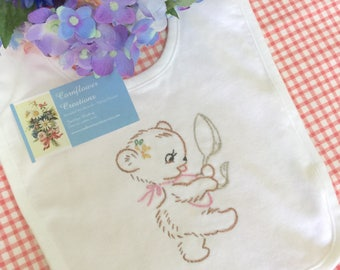 Little Bear with Spoon - Hand Embroidered Organic Cotton Bib - Baby Girl - Vintage Style
