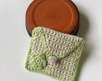 Girls lime green purse  - for cards, money, mp3, store cards, makeup, coins