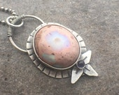 Reserved 25% Off - Mexican Fire Opal Iolite Sterling Silver Necklace