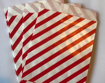 "Red and White Stripe Paper Party Bags, set of 25 paper treat bags size 6"" x 6.5 stripe bags"