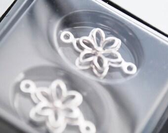 Sterling Elegance, 10 MM Antiqued Sterling Silver Flower Connectors, 2pc