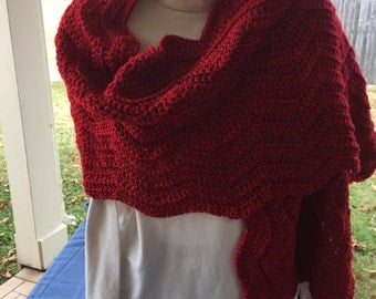 Red with Sparkle Rectangle Shawl