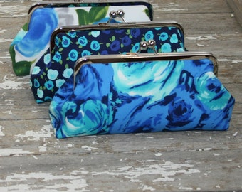 Beach Blue Bridesmaid Clutches - Bridesmaids Bag - Wedding Party Gift Bags -Beach Wedding Favors