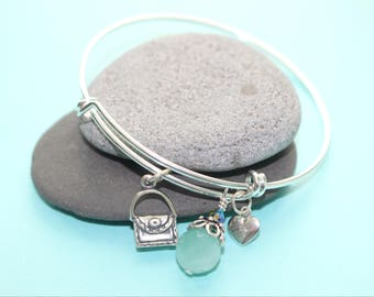 Expandable Bangle and Sterling Silver Charms