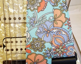 teal faded floral guitar strap
