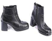 Black Chunky Boots 90s Vintage Leather Platform Block Heel Club Kid Goth Grunge 1990s Half Booties European Quality size Eu 37, Us 6.5, UK 4