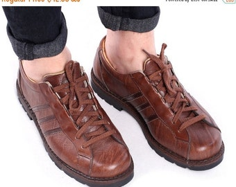 SALE . Leather SNEAKERS for Men 80s Brown Shoes Made in Europe Rustic Trainers Rugged Chunky Sole Retro Lace Up Size Us men 8.5 , Eur 42 , U