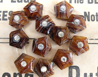 Antique Beads Nail Heads Agate Glass Two Hole Rhinestones 12mm