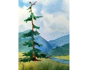 Mini Tree Painting, ACEO Tree Art, Tall Mountain Tree, Rustic Mini Art, Woodsy, Trees and Mountains, Tree Art Gift, Outdoorsman Gift, ACEO