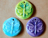 3 Handmade Ceramic Butterfly Beads - Butterfly Pendants - Sweet Focal Beads for Spring - Light Green Aqua and Lavender Butterfly Charms