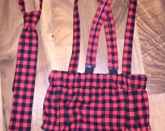 Diaper Cover Set Lumberjack w/Suspenders Necktie or Bowtie Photography Prop, Dressy Baby Boy
