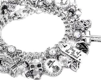 Day of the Dead Jewelry, Gothic Charm Bracelet, Gothic Jewelry, Hispanic Holidays, Dancing Skeleton Jewelry, Frida Kahlo Bracelet