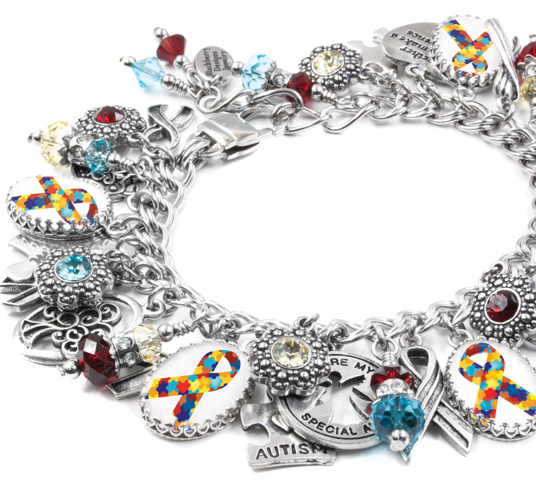 charm bracelet autism awareness jewelry personalized autism. Black Bedroom Furniture Sets. Home Design Ideas