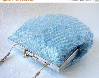 20% SALE Airy Powder Blue Shell Purse Vintage Beaded Clutch Formal Evening Bag AB Glass Bead Handbag Long Shoulder Strap Silver Wedding Prom