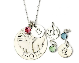 Mother's Day Gift|Mothers Day Birthstone|Custom Hand stamped|Monogram|Initial|Birthstone|Personalized|Jewelry|Sterling|Silver|Necklace