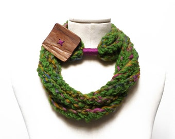 Loop Infinity Scarf / Necklace, Crochet Scarflette Neckwarmer - multicolor green yarn with giant wood button