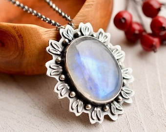 Anniversary Sale Rainbow Moonstone Necklace, Botanical Jewelry, Moonstone Jewelry, Statement Necklace, One of a Kind Metalwork, 925 Silver N