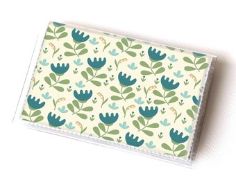 Vinyl Card Holder - Scandinavian Summer3  / card case, snap, vinyl wallet, women's wallet, small wallet, pretty, floral, flowery, gift, bird