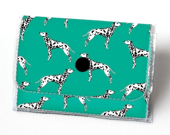Handmade Vinyl Accordion Wallet - Dalmatian Green / small wallet, snap, cute, card case, vinyl wallet, women's wallet, dog, spots, animal