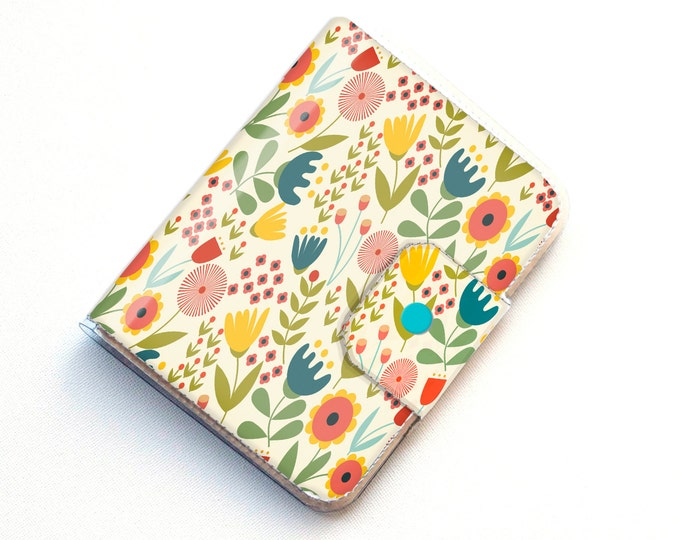 Vinyl Passport Case - Scandinavian Summer1 / traveller, floral, yellow, flowers, folk, folksy, passport, vinyl, gift, woman's, wallet, case