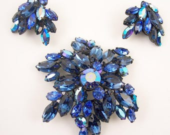 Regency Blue Rhinestone Brooch Set
