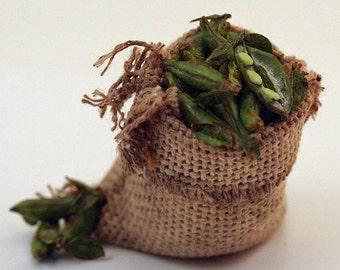 12th scale handmade miniature sack of broad beans.