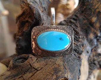 Sleeping Beauty Turquoise and Sterling Pendant