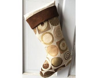 Bold Geometric Christmas Stocking with Brown Suede Cuff - Heirloom Holiday Decor