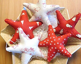 Christmas  Stars Ornaments Holiday Bowl Fillers Red and White Snowman Decorations